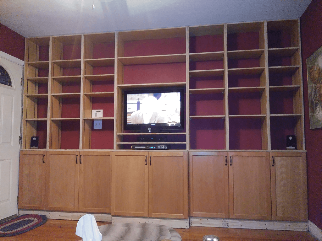 Right shelves and cabinet doors installed.